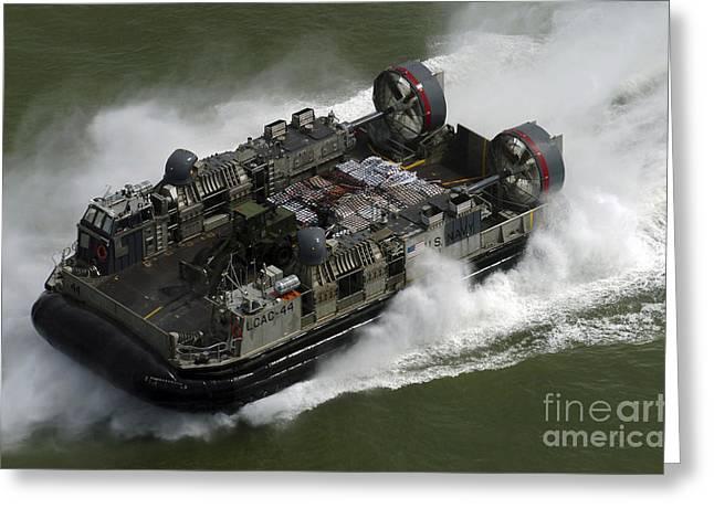 Landing Craft Greeting Cards - A Landing Craft Air Cushion Vehicle En Greeting Card by Stocktrek Images