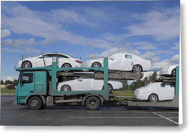 Freight Transportation Greeting Cards - A Large Bulk Transporter Loaded Greeting Card by Jaak Nilson