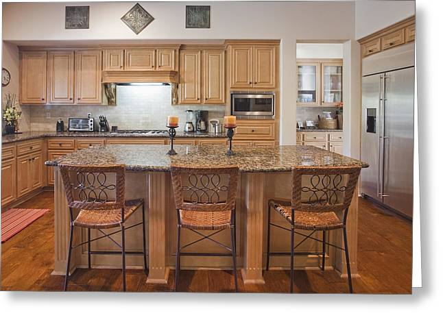 Residential Structure Greeting Cards - A Large Kitchen With Island Greeting Card by Bryan Mullennix