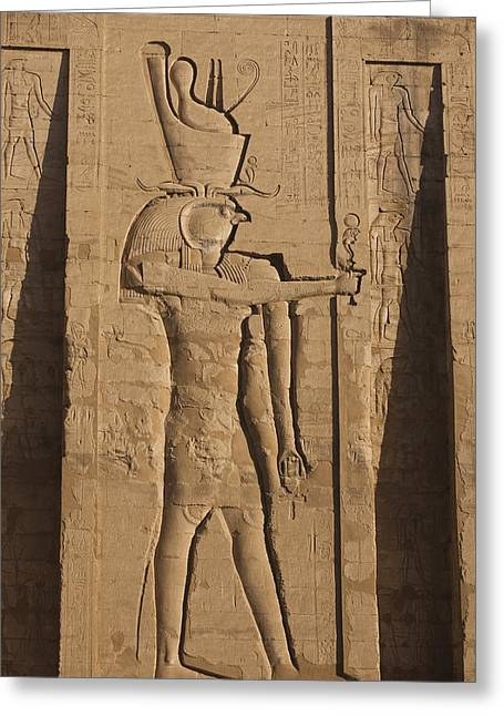 Horus Greeting Cards - A Large Relief Of The God Horus Greeting Card by Taylor S. Kennedy