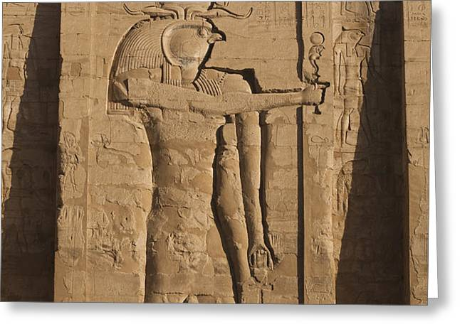 A Large Relief Of The God Horus Greeting Card by Taylor S. Kennedy