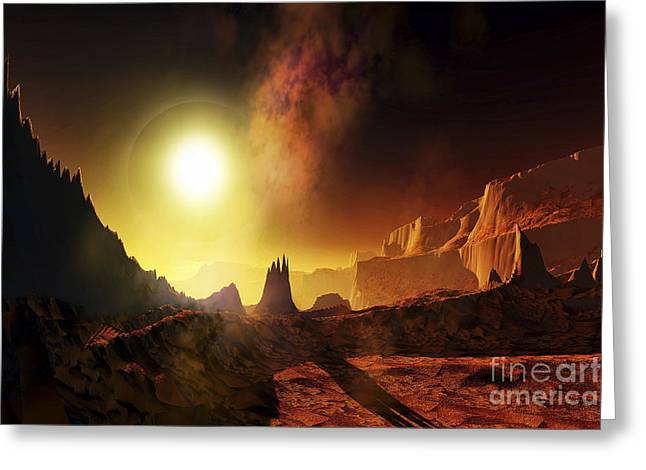 A Large Sun Heats This Alien Planet Greeting Card by Corey Ford