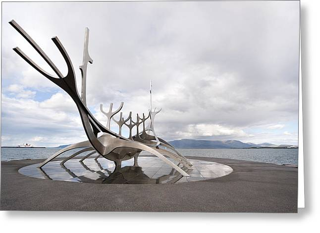 Art Product Greeting Cards - A Large Viking Boat Sculpture Greeting Card by Corepics