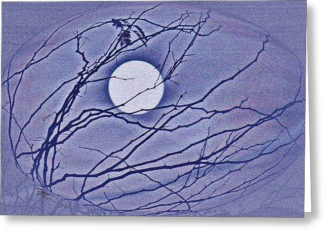 Art By Carl Deaville Greeting Cards - A Las Vegas January Full Moon Greeting Card by Carl Deaville
