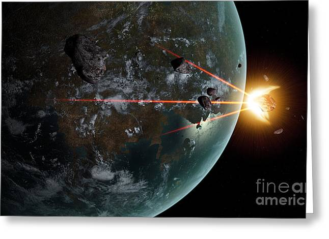 Destiny Greeting Cards - A Laser Anti-asteroid Defense System Greeting Card by Frieso Hoevelkamp