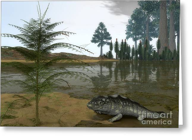 Primeval Greeting Cards - A Late Devonian Ichthyostega Emerges Greeting Card by Walter Myers