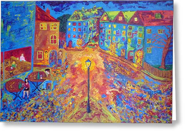 Prague Paintings Greeting Cards - A Late Night In Prague Greeting Card by Peter Silkov