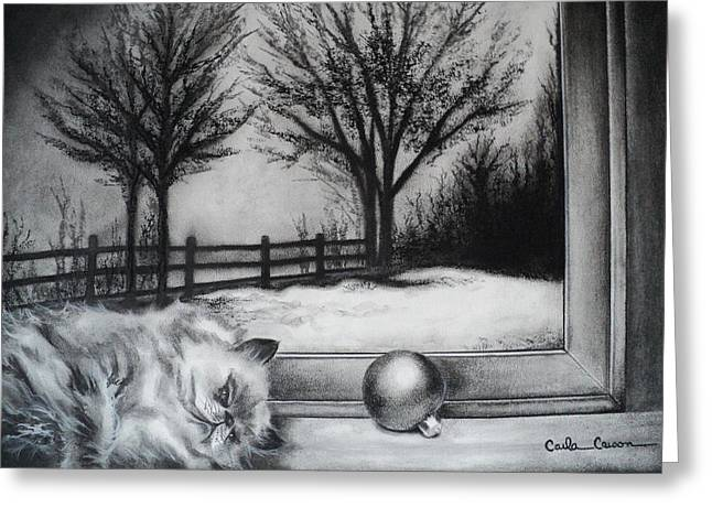 Cat Drawings Greeting Cards - A Lazy Winter Day Greeting Card by Carla Carson
