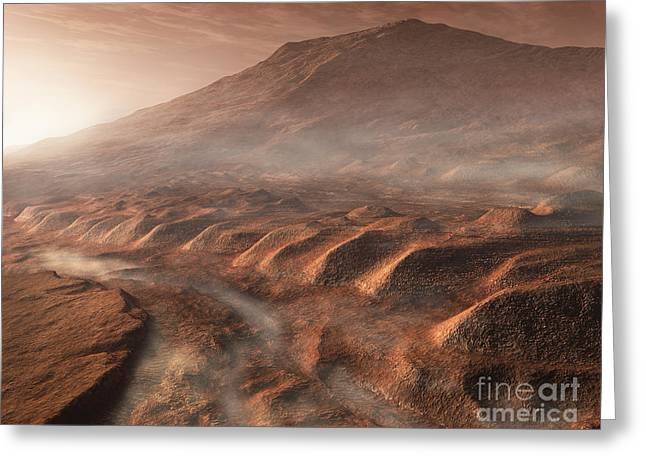 Rendition Greeting Cards - A Light Fog Forms In A Desiccated Gully Greeting Card by Steven Hobbs