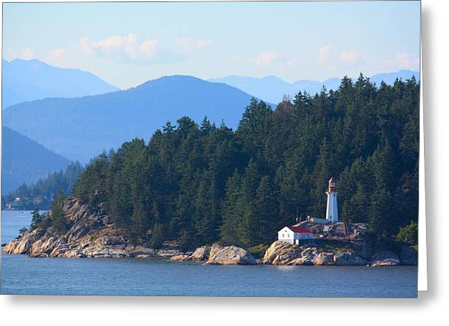 Bc Inside Passage Greeting Cards - A Light in the Distance Greeting Card by Richard Stillwell