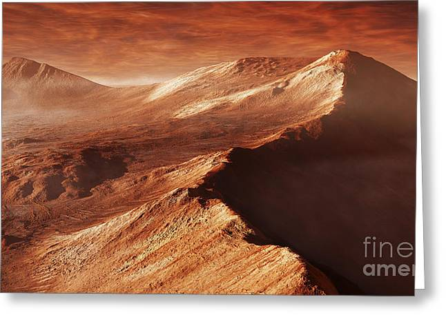 Rendition Greeting Cards - A Light Winters Frost Forms In Mojave Greeting Card by Steven Hobbs
