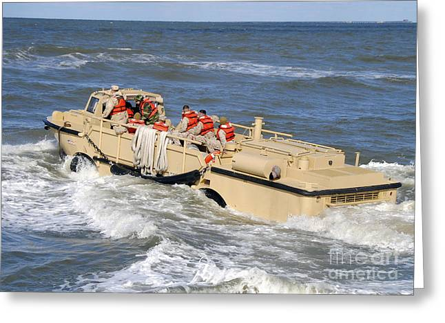 Resupply Greeting Cards - A Lighter Amphibious Resupply Cargo Greeting Card by Stocktrek Images
