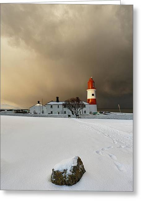 A Lighthouse And Building In Winter Greeting Card by John Short
