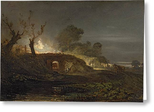 A Lime Kiln at Coalbrookdale Greeting Card by Joseph Mallord William Turner
