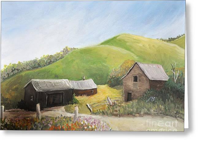 Nature Scene Paintings Greeting Cards - A Little Country Scene Greeting Card by Reb Frost