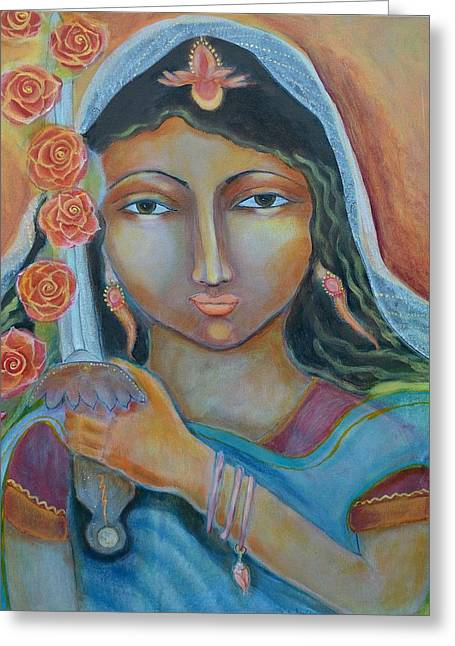 Goddess Durga Paintings Greeting Cards - A Little Drop of Durga Greeting Card by Kate Langlois