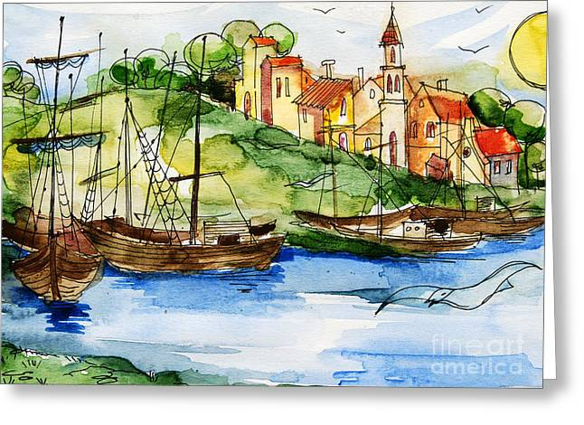 A Little Fisherman's Village Greeting Card by Mona Edulesco