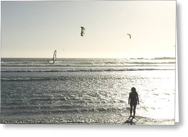 Kite Surfing Greeting Cards - A Little Girl Plays In The Late Greeting Card by Stacy Gold