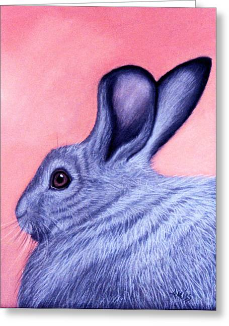 Rabbit Pastels Greeting Cards - A Little Grey Hare Greeting Card by Jan Amiss