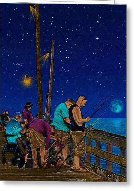Night Lamp Drawings Greeting Cards - A Little Night Fishing at the Rodanthe Pier Greeting Card by Anne Kitzman