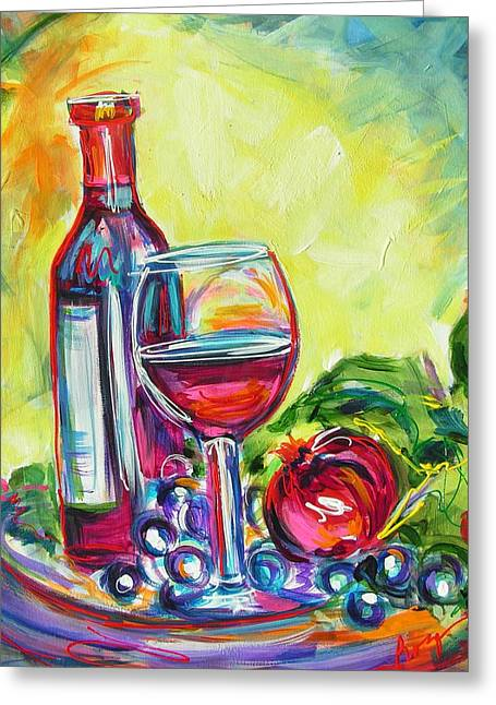 Long Stem Wine Glass Greeting Cards - A Little Tipsy Greeting Card by Judy  Rogan