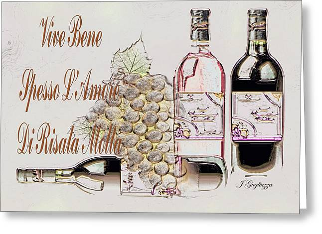Italian Wine Greeting Cards - A Little Vino Greeting Card by Jean Gugliuzza