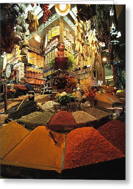 Food Vendors Greeting Cards - A Lively And Colorful Spice Market Greeting Card by Tim Laman