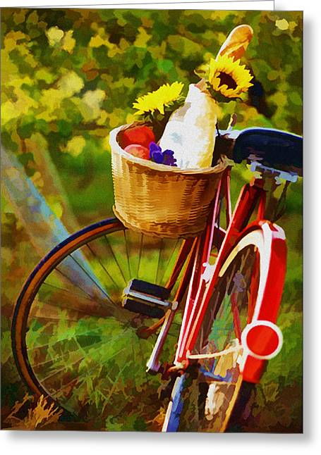 Best Sellers -  - Champagne Glasses Greeting Cards - A Loaf of Bread a Jug of Wine and a Bike Greeting Card by Elaine Plesser