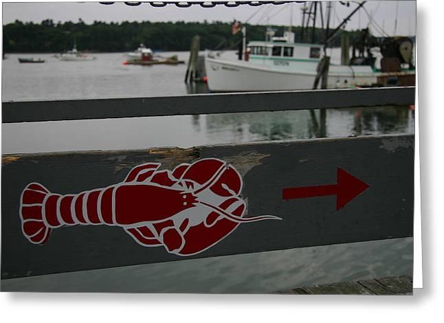 Lobster Sign Greeting Cards - A Lobster Sign Backed By A Lobster Boat Greeting Card by Stephen St. John
