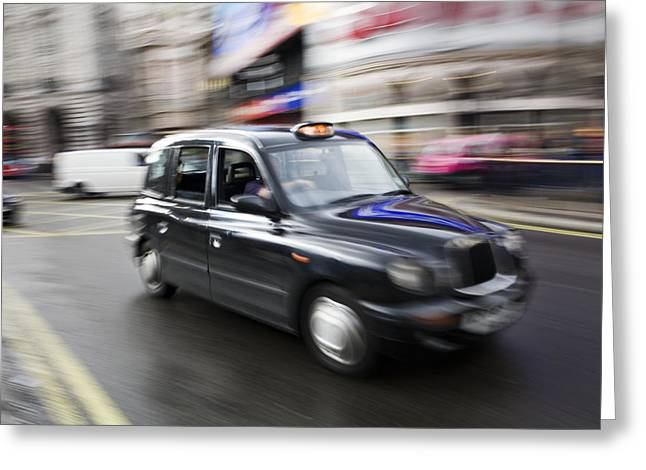 Life Speed Greeting Cards - A London Cab Traveling Through Traffic Greeting Card by Justin Guariglia