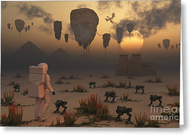 Dragon Concept Greeting Cards - A Lone Astronaut Confronts A Surreal Greeting Card by Mark Stevenson