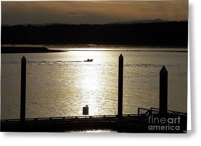 Boats At Dock Greeting Cards - A Lone Boat at Sunset Greeting Card by Chalet Roome-Rigdon