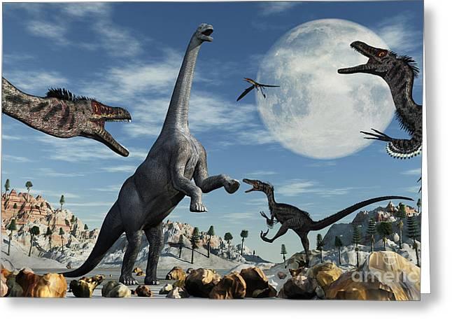A Lone Camarasaurus Dinosaur Greeting Card by Mark Stevenson