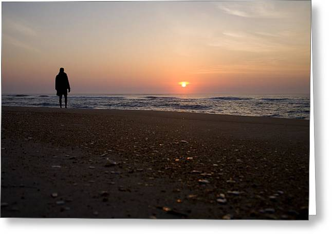 Surf Silhouette Greeting Cards - A Lone Figure Enjoys The Ocean Sunrise Greeting Card by Stephen St. John