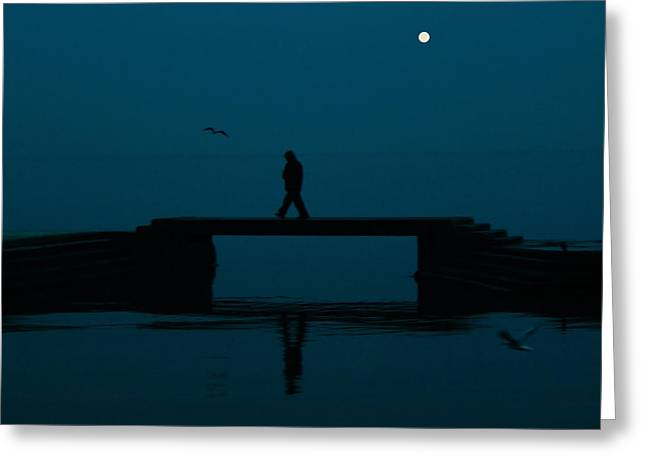 Sea Moon Full Moon Greeting Cards - A lone man Greeting Card by Jasna Buncic