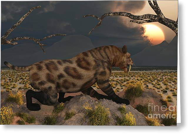 The Tiger Greeting Cards - A Lone Sabre Tooth Tiger Observes Greeting Card by Mark Stevenson