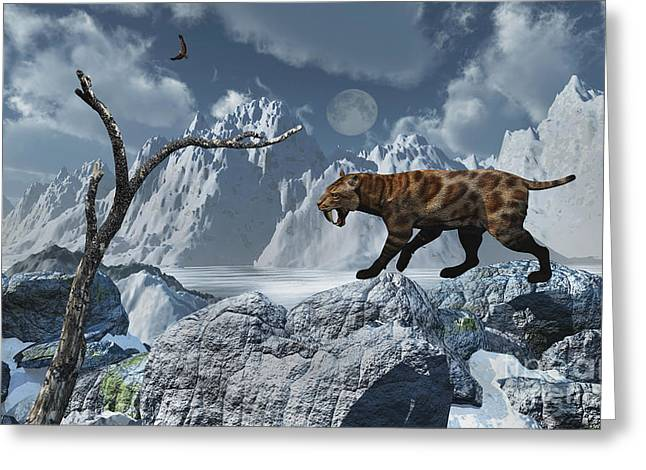 Snow-covered Landscape Digital Greeting Cards - A Lone Sabre-toothed Tiger In A Cold Greeting Card by Mark Stevenson