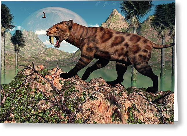The Tiger Greeting Cards - A Lone Sabre-toothed Tiger Greeting Card by Mark Stevenson