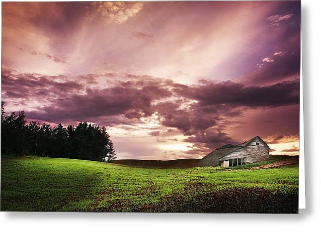 Unoccupied Greeting Cards - A Lonely Farm Building In An Open Field Greeting Card by Chris Knorr