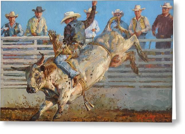 Bull Riding Greeting Cards - A Long 8 Seconds Greeting Card by Jim Clements