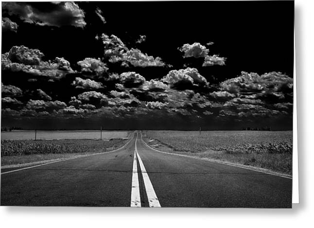 Wentzville Greeting Cards - A Long Dark Road Greeting Card by Bill Tiepelman