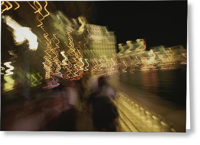 Panned Views Greeting Cards - A Long Exposure Captures The Las Vegas Greeting Card by Stacy Gold