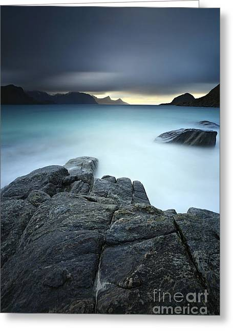 Beaches Of Norway Greeting Cards - A Long Exposure Scene At Haukland Beach Greeting Card by Arild Heitmann
