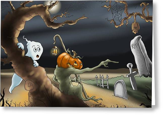 Ghost Illustration Greeting Cards - A Long Night Greeting Card by Hank Nunes