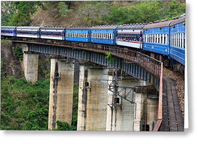 Train Bridge Greeting Cards - A Long Way Down Greeting Card by Aidan Moran