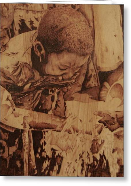 African Art Pyrography Greeting Cards - A Longtime Coming Greeting Card by Marlon Ivory