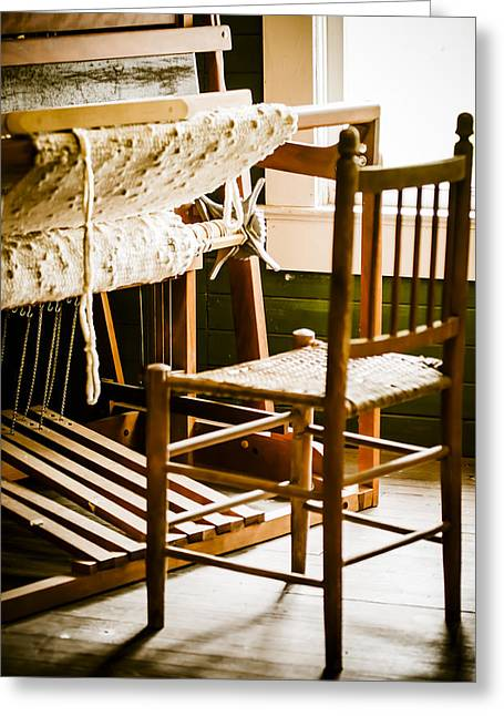 Textile Photographs Greeting Cards - A Loom For Grandma Greeting Card by Carolyn Marshall