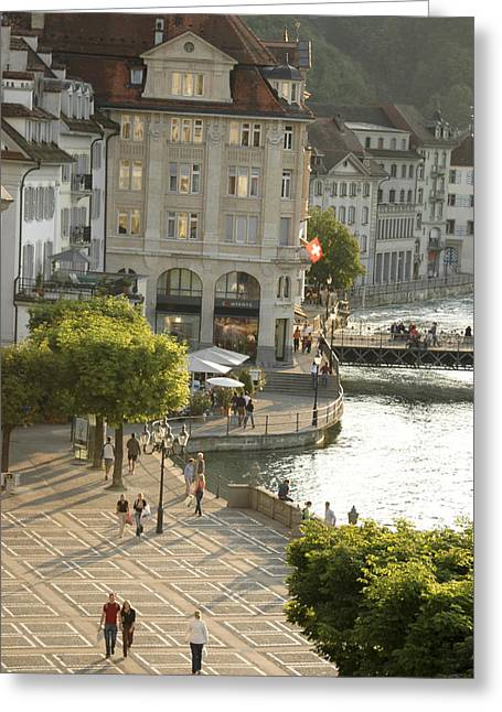 Swiss Flag Greeting Cards - A Lucerne Street Scene In The City Greeting Card by Annie Griffiths