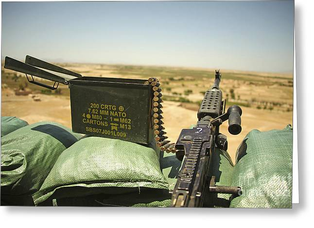 Sangin Greeting Cards - A M240b Medium Machine Gun Greeting Card by Stocktrek Images