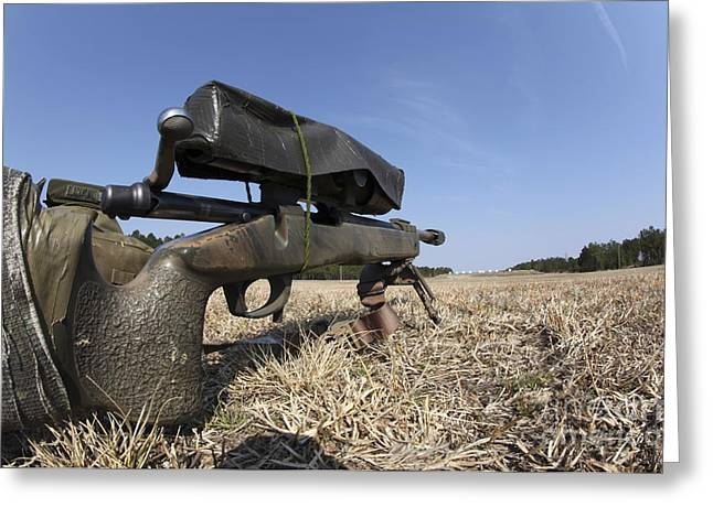 7.62mm Greeting Cards - A M40a3 7.62mm Sniper Rifle Sits Ready Greeting Card by Stocktrek Images